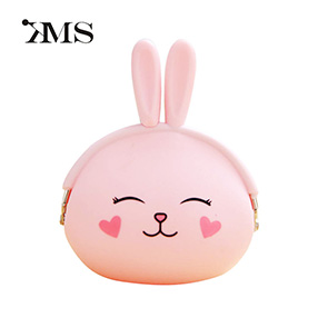 Cute candy color girl wallet silicone rabbit style ladies coin purse