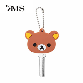 Customize supplier cute bear pvc key cover cap keychain