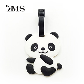 Chinese panda personalized animal shape pvc luggage tag