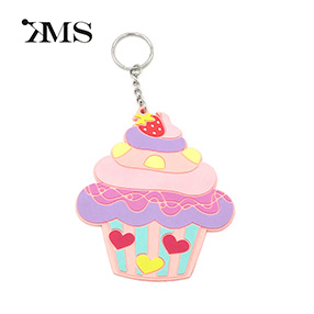 Cheap and fun customizable pvc cupcake keychain