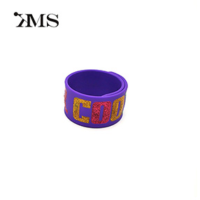 Purple customizable silicone slap bracelet cheap Beat the band