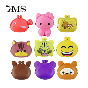 Zippered silicone wallet silicone coin purse for kids